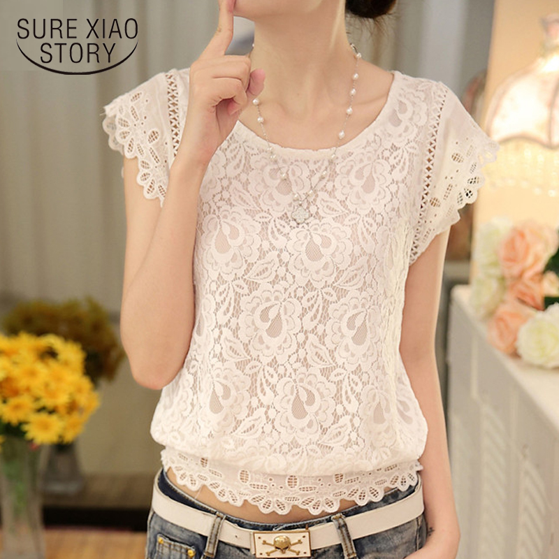 New  2018 Summer Fashion Short Sleeve Women Tops Plus Size Solid White Color Blouse Lace Chiffon Female Slim Blouse Shirt 01A 25