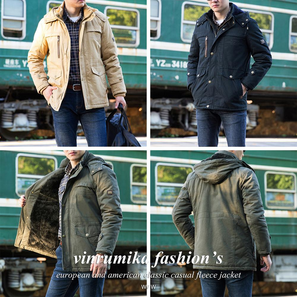 Best DealçCoat Man Jackets Military Fleece Black Casual-Style Men's Winter 5XL 4XL Thick Cotton