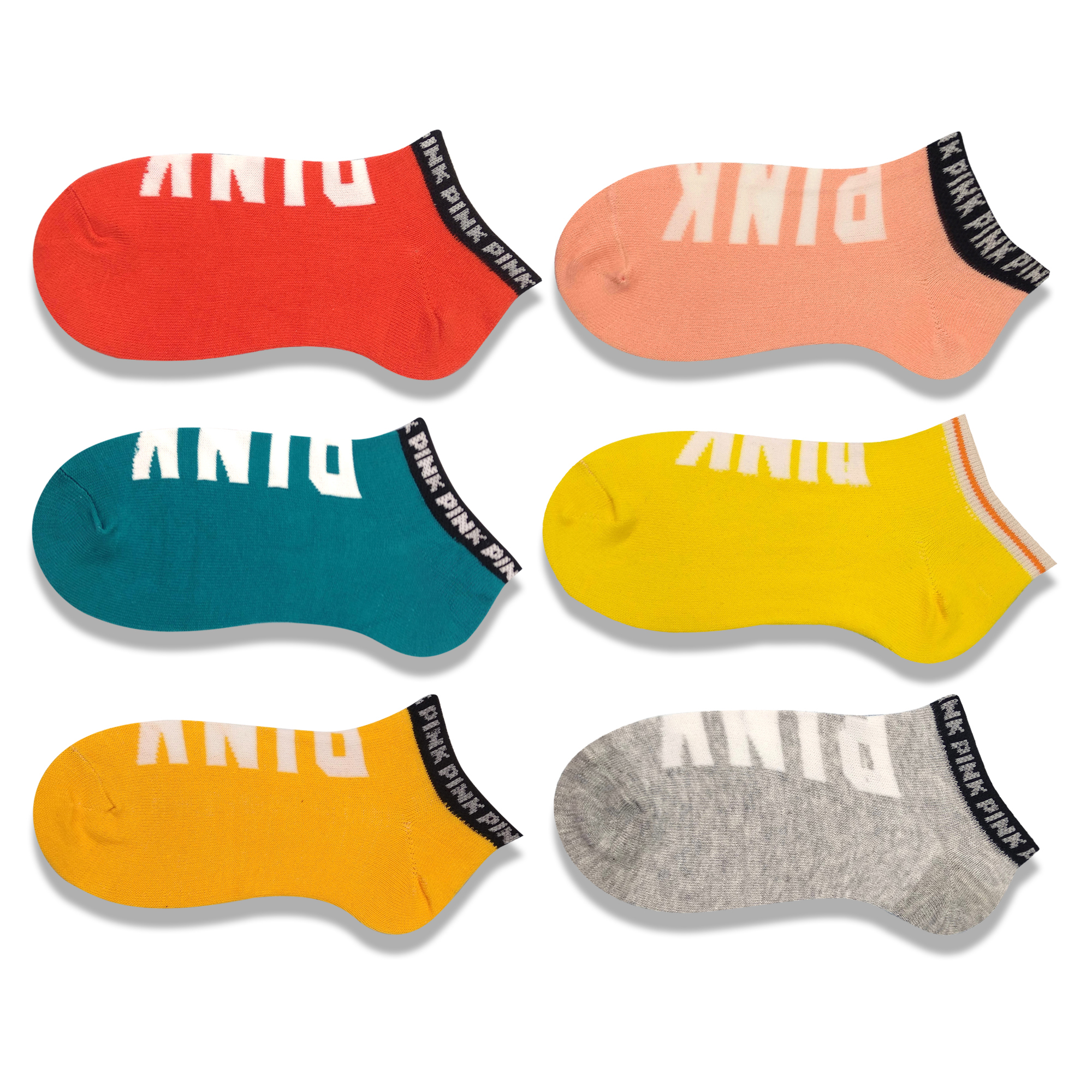 Colorful Neon Pink Socks Cotton Funny Blue Yellow Pink Socks Creative Letter Football Boat Socks Street Invisible Ankle Socks