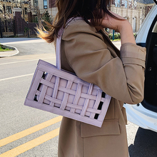Waffle Pu Leather Shoulder Bags For Women 2020 Summer Vintage Lady Handbags Fema