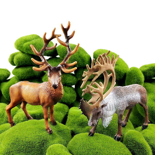 New Sika Deer Reindeer Elk figurine Simulation Animal model Diy home decor miniature fairy garden decoration accessories modern 4