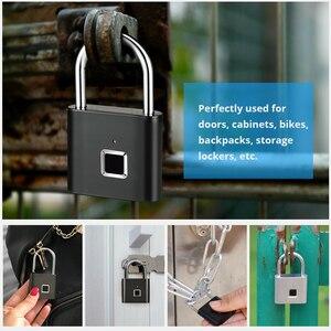 Image 2 - KERUIกันน้ำUSBชาร์จลายนิ้วมือล็อคกุญแจสมาร์ทล็อคลายนิ้วมือ0.1secปลดล็อคแบบพกพาAnti Theftล็อคลายนิ้วมือ