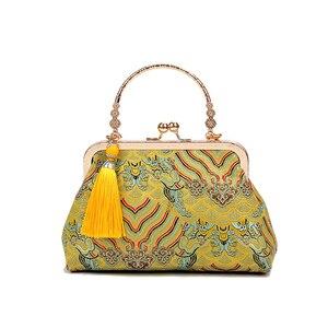 Image 1 - Vintage baiser serrure coquille sac sacs frange fourre tout femmes sacs à main sacs à main chaîne dame femmes épaule sac à bandoulière sacs livraison gratuite