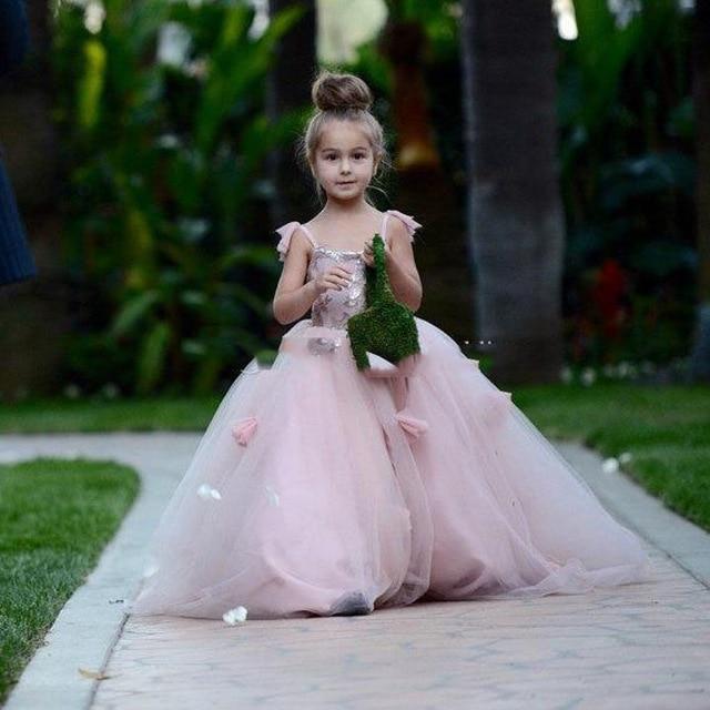 Blush 2019   Flower     Girl     Dresses   For Weddings Ball Gown Spaghetti Straps Tulle Sequins Long First Communion   Dresses   Little   Girl