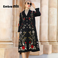 Winter High-End double-sided Wool Coat Vintage Style Palace Embroidery single breasted Loose Elegant 100% Wool Coat S-XL