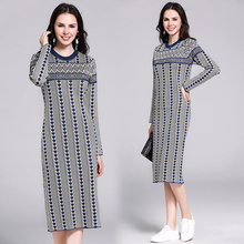 Banulin New Fashion Runway Autumn Winter Knitting Dress Womens Long Sleeve Plaid Pattern Elegant Vintage Bodycon Midi Dresses