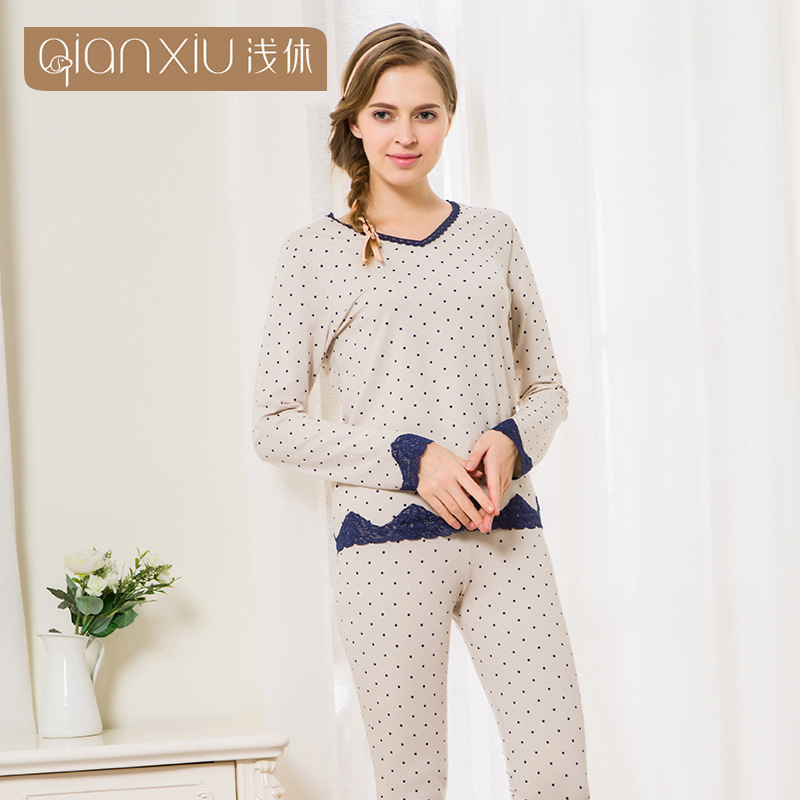 Qianxiu 16 Spring New Style Women's Pure Cotton Pajamas Suit V-neck Lace Dotted Pajamas Large Size Homewear Set