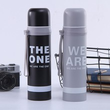 Get more info on the Sports bottle 500ML stainless steel English alphabet mug with cup outdoor travel student adult portable leak-proof rope outdoor sports bottle