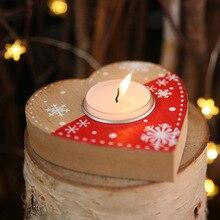 1 Pcs Christmas Atmosphere Dress UpCandlestick Candle Decoration Wooden Heart Candlestick Pentagram Box