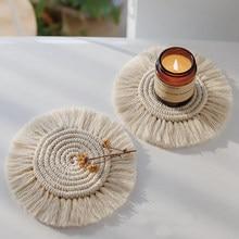 Trenza algodón regalo Macrame hecha a mano taza cojín estilo Bohemia antideslizante estera de la taza