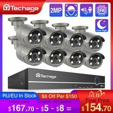 Techage sistema de seguridad H.265, Kit de NVR POE de 8 canales, 1080P, CCTV, Audio bidireccional, cámara IP de 2MP, grabadora de vídeo de exterior, juego de vigilancia