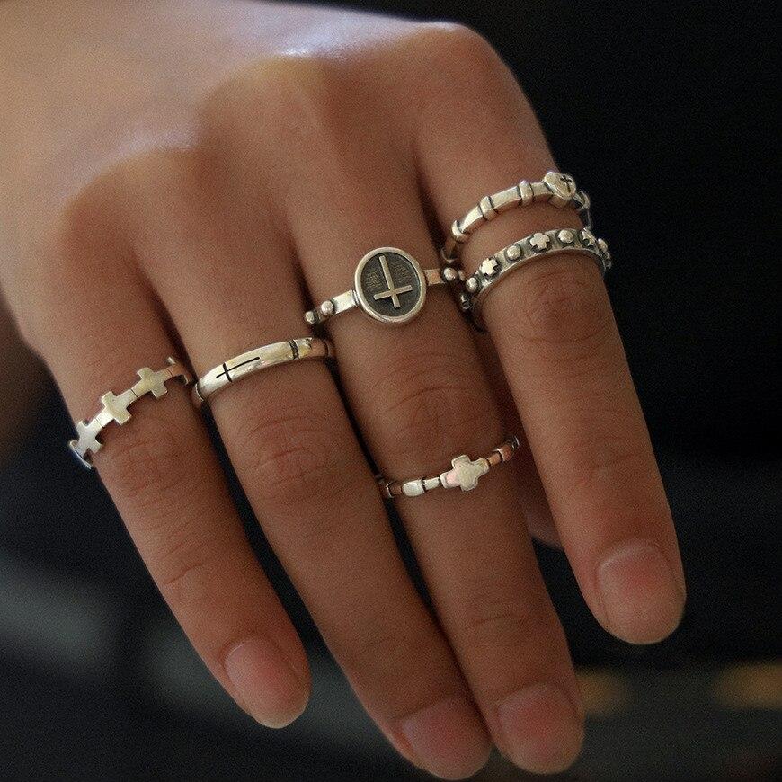 Набор Колец DIEZI в богемном стиле для женщин и мужчин, винтажные кольца на палец в стиле хип-хоп серебристого цвета, с шармами кресты, 2019