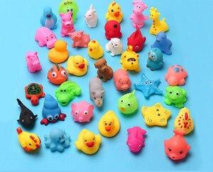 Image 3 - Jouets de bain pour bébé, 10 pièces/ensemble, animaux doux flottants en caoutchouc, à son, à presser, GYH