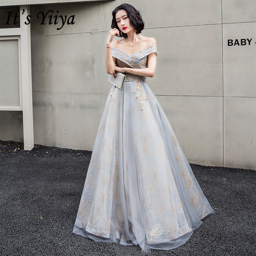 It's Yiiya   Evening     Dresses   Off The Shoulder Formal   Dress   2020 Plus Size Gold Beading Crystal Boat Neck robe de soiree E1395
