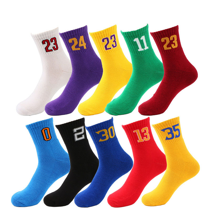 Professional Super Star Basketball Number Socks Elite Thick Sports Socks Non-slip Durable Skateboard Towel Bottom Cycling Socks