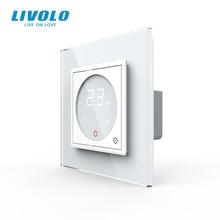 Livolo Thermostat intelligent, contrôle de la température, thermostat de chauffage au sol, panneau en verre cristal 4 couleurs, prise Standard ue 110 250V AC