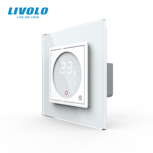 Image 1 - Livolo inteligentny termostat Standard ue regulacja temperatury, termostat do ogrzewania podłogowego, 4 kolory Panel ze szkła kryształowego, AC 110 250V