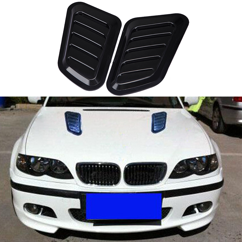 1 Pair Car Front Engine Cover Sticker Car Decorative Air Outlet Flow Intake Scoop Turbo Bonnet Vent Cover Hood High Quality