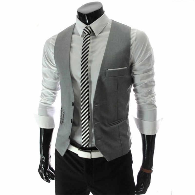 Zogaa garnitur Slim Fit kamizelka męska biznes kamizelka okazjonalna męska solidna Slim Fit bielizna męska jednorzędowa moda kurtka z kieszeniami