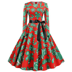 S-5XL Christmas Print Vintage Dress Women Autumn Winter Long Sleeve A-line Midi Party Dress Pin Up 50s 60s Robe Femme Plus Size 6