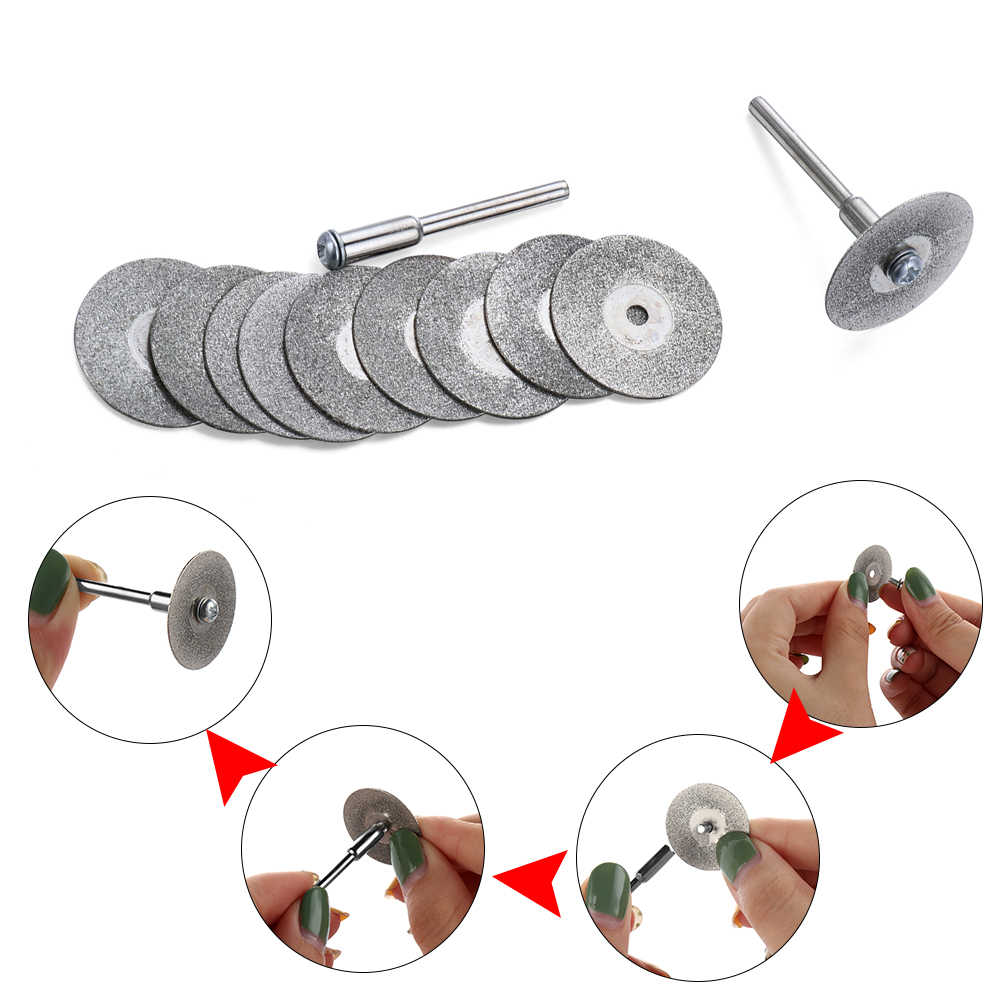 20-50mmแผ่นตัดเพชรและสว่านMINIใบเลื่อยสำหรับโรตารี่เครื่องมือMINI Mandrel 3.0 มม.ใบมีดหินมือเครื่องมือ