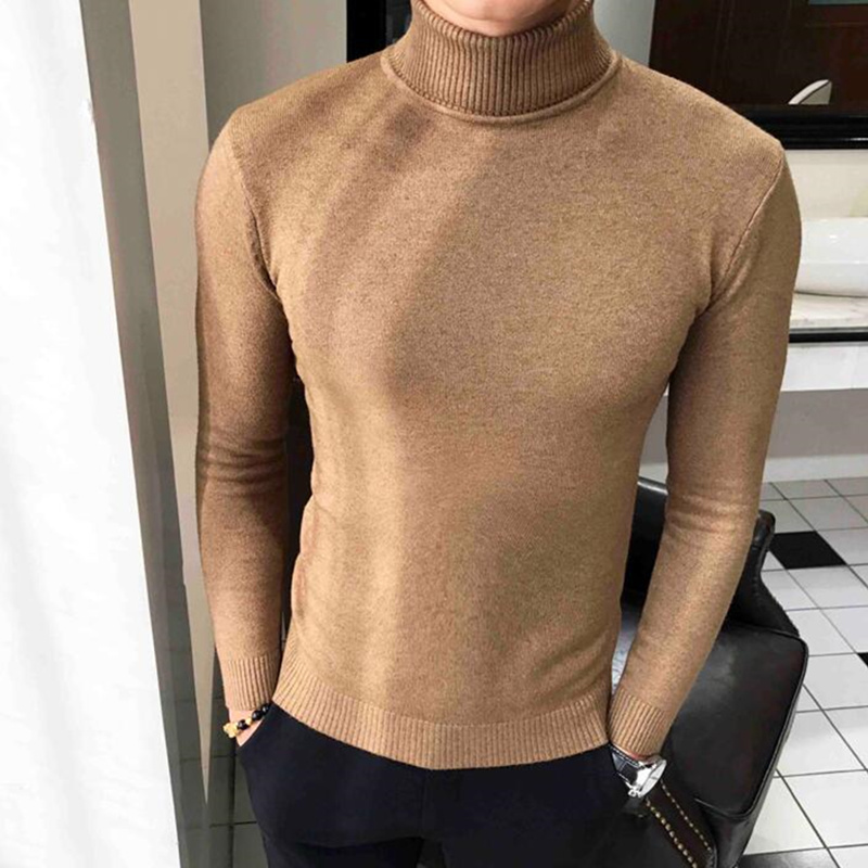 2019 Winter High Neck Thick Warm Sweater Turtleneck Brand Mens Sweaters Slim Fit Pullover Men Knitwear Male Double Collar S-3XL