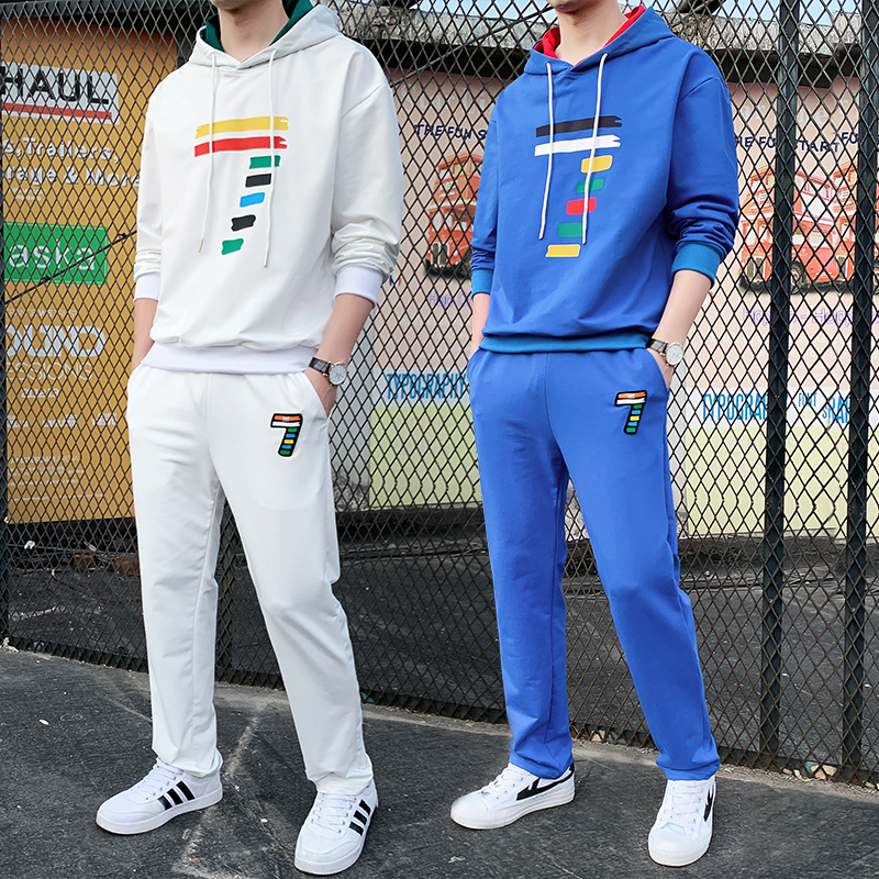 Streetwear Rainbow Number Printed Tracksuit Men Two Piece Set Colorful Seven Hoodie Pants Tracksuit Trend Loose Fit Tracksuit