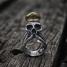 Unique Octopus Tentacle Captain Skull Biker Rings Mens Navy Military Stainless Steel Ring Punk Rock Jewelry недорого