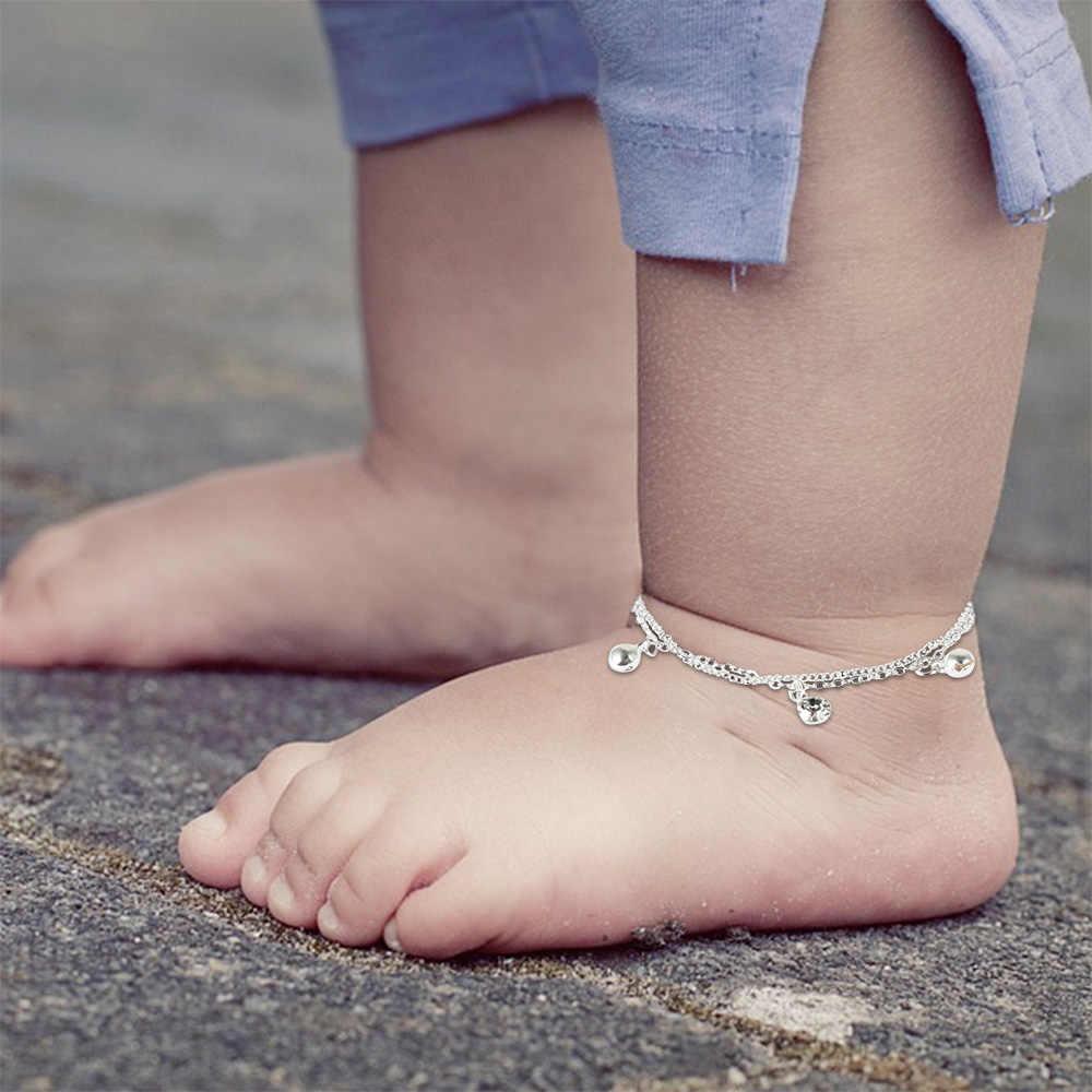 เด็กข้อเท้าสร้อยข้อมือวันเกิด Bell หินสีขาว Charm สร้อยข้อมือเท้าข้อเท้าขาโลหะสร้อยข้อมือสำหรับสร้อยข้อมือเด็กของขวัญ