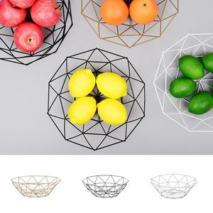 Fruit Basket Container Bowl Metal Wire Basket Kitchen Drain Rack Fruit Vegetable Storage Holder Snack Tray Bowl Table Storage(China)
