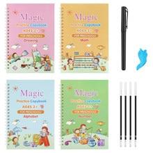 4 livros/conjuntos de crianças copybook reutilizável prática de escrita aprender inglês magia papelaria caligrafia montessori brinquedos