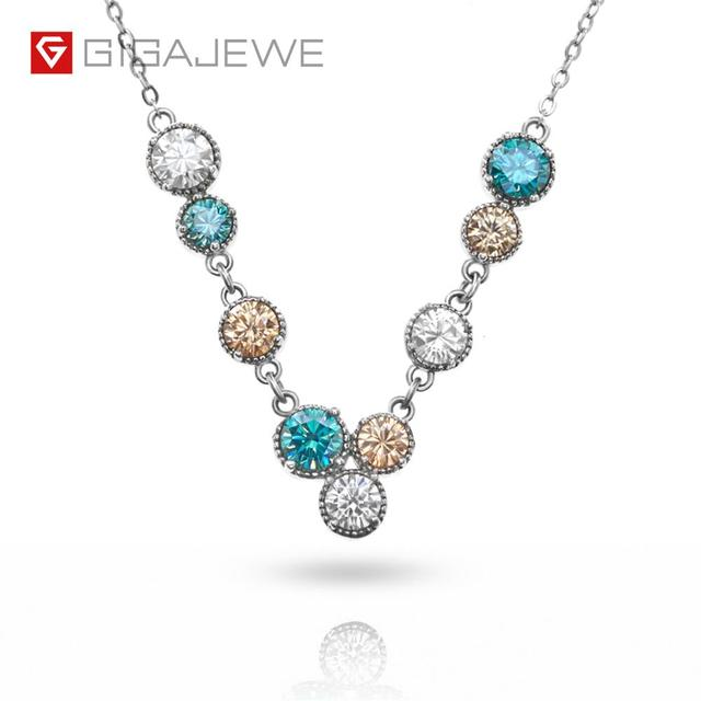 GIGAJEWE 3.6ct EF Cyan Golden Round Cut 18K White Gold Plated 925 Silver Moissanite Necklace Diamond Test Passed Jewelry Gift