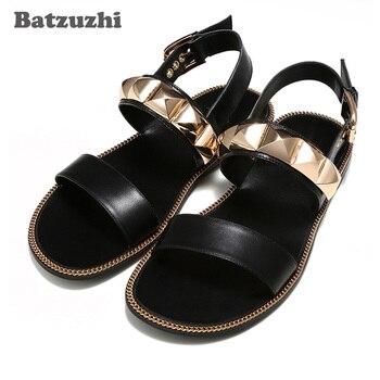 2020 New Arrival Men's Sandal Shoes Black Genuine Leather Sandal Shoes Men Designer's Summer Gladiator Sandalias,Big Sizes 6-12