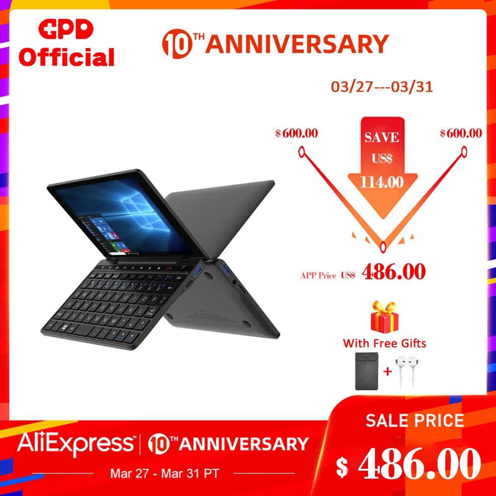 New GPD Pocket 2 8GB 256GB 7 Inch Slim Laptop Gaming Mini PC Computer Netbook Touch Screen CPU Intel Celeron 3965Y Windows 10