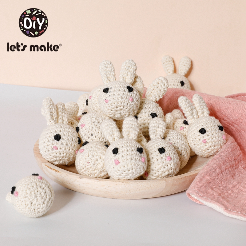 Let's Make 5pcs Rabbit Crochet Beads Cute Animal Panda Beads DIY Wooden Teething Knitting Jewelry Crib Baby Sensory Kids Product