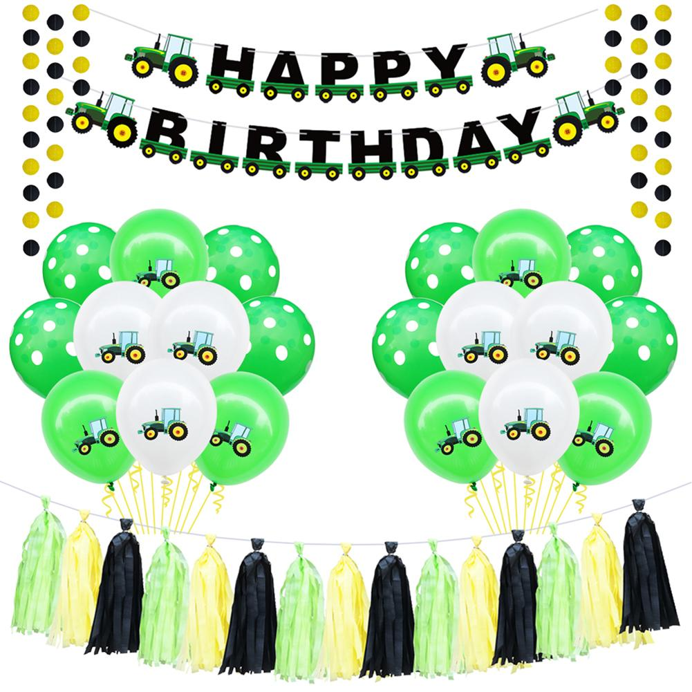 Inflatable Balloons Birthday Excavator Vehicle Ballon Banners Happy Birthday Party Decorations Kids Banner 1St Birthday in Ballons Accessories from Home Garden