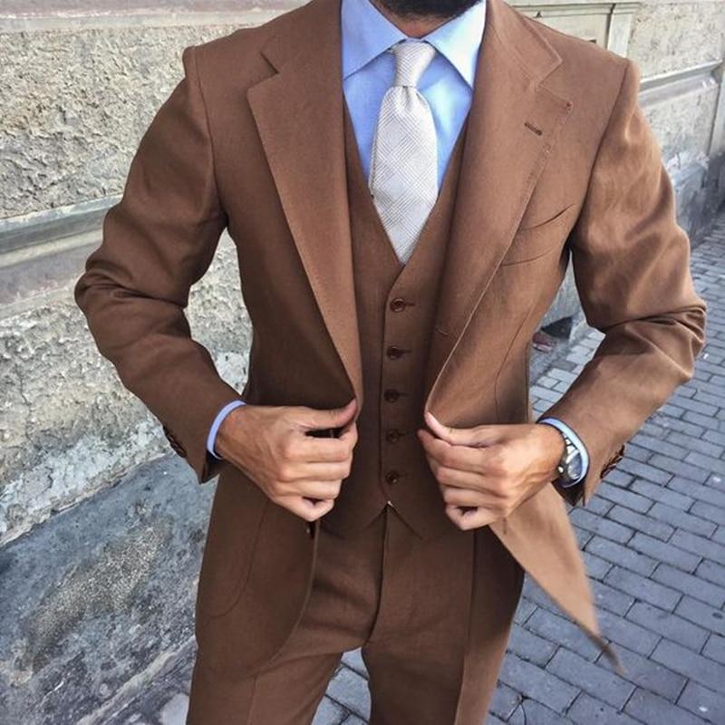 Custom Made Brown Men Suits Slim Fit 3 Pieces (Jacket+Pant+Vest) Groom Tuxedos Wedding Suits For Men Prom Blazer