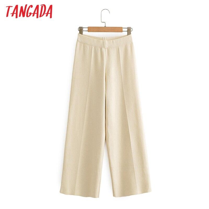 Tangada fashion women beige knit wide leg pants trousers waist strethy office lady pants pantalon AI16