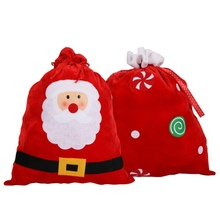 Merry Christmas Large Sized Christmas Stockings Gift Holders Drawstring Treat Bag