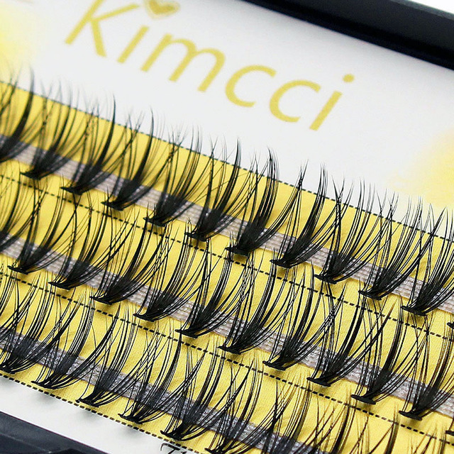 Kimcci 60 Bundles Mink Eyelash Extension Natural 3D Russian Volume Faux Eyelashes Individual 20D Cluster Lashes Makeup Cilios 3
