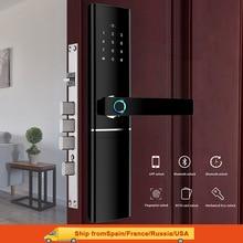 Cerradura de puerta de huella dactilar inteligente cerradura inteligente de seguridad cerradura biométrica electrónica Cerradura para puerta con Wifi con Bluetooth desbloqueo de aplicación