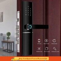 Fechadura da porta da impressão digital inteligente de segurança fechadura da porta biométrica eletrônico wifi com bluetooth app desbloqueio Trava elétrica     -