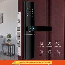 Smart Fingerprint Door Lock  Security  Intelligent Lock  Biometric Electronic Wifi Door Lock With Bluetooth APP Unlock