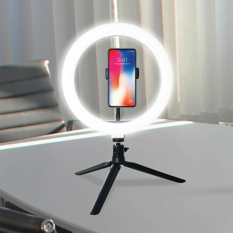 10 Inch LED Ring Light Lamp Selfie Camera Phone Studio Tripod Stand Video Dimmable Adjustable Angle VDX99