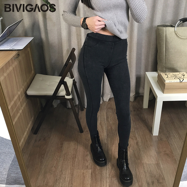 BIVIGAOS Women Jeans Leggings Casual Fashion Skinny Slim Washed Jeggings Thin High Elastic Denim Legging Pencil Pants For Women 5