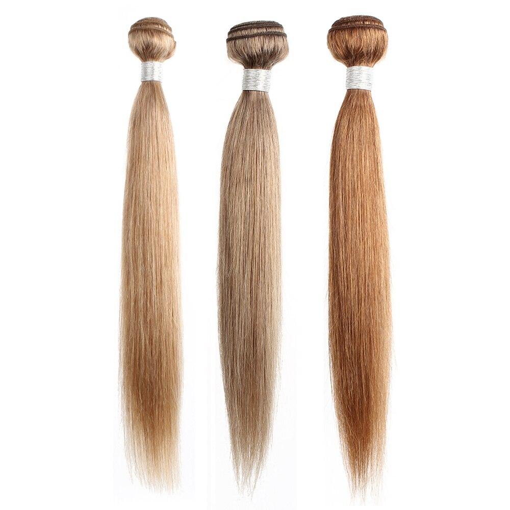 Mogul Hair Color 8 Ash Blonde Color 27 Honey Blonde Indian Straight Hair Weave Bundles Ombre Non Remy Human Hair Extension