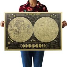 Grande Vintage Retro papel Tierra Luna mapa del mundo cartel gráfico de la pared decoración del hogar pegatina de la pared