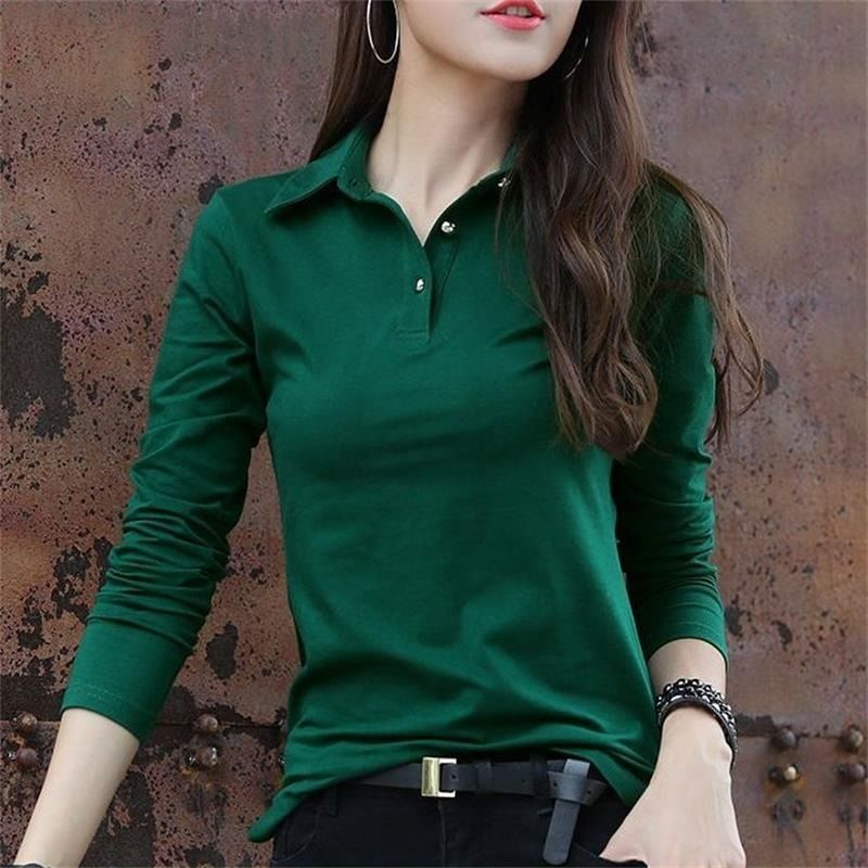 Autumn 2019 New Korean Cotton T Long Sleeve Pool Women's Top Lapel Slim Bottoming Shirt Women
