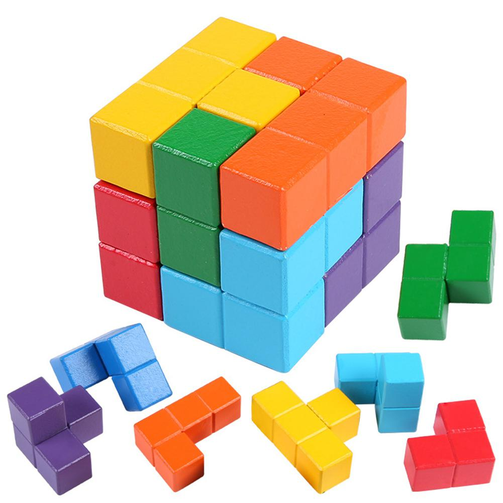 Wooden Building Blocks Set Smart Cube Tetris Developmental Toy For Kids Children