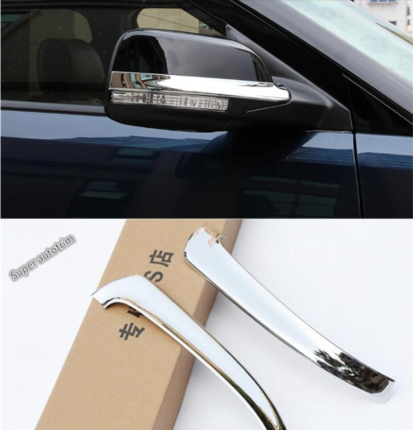Lapetus Chrome Side Rearview <font><b>Mirror</b></font> Rubbing Strip Cover Trim 2 Pcs Fit <font><b>For</b></font> <font><b>Ford</b></font> <font><b>Explorer</b></font> 2011 - 2018 ABS <font><b>Accessories</b></font> Interior image
